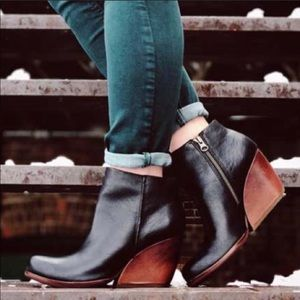 Kork-Ease Natalya leather wedge ankle bootie